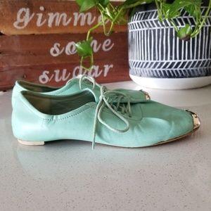 lace up flats shoes mint green color